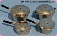 VAISSELLE  - BATTERIE de CUISINE miniature, Coloris INOX Vente par Elément ou Assortiment de 4 - D259