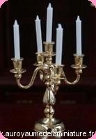 Luminaire non Fonctionnel,  CHANDELIER  miniature en Métal doré,  5 BOUGIES