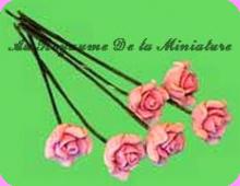 FLEURS COUPEES - ROSE miniature,  Coloris ROSE  - VENDUE à l' UNITé
