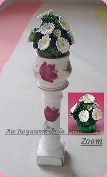 DECO - COLONNE rose + POT +  FLEURS