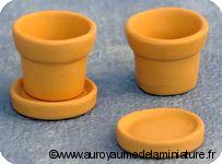 JARDINAGE  miniature - Set 2 POTS + COUPELLES en TERRE CUITE