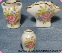 SALON / SEJOUR - Set 3 VASES miniatures FLEURI ROSE