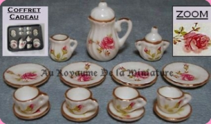 Set 15 Pcs, SERVICE à CAFE / THE / DESSERT miniature FLEURI ROSE - D1722