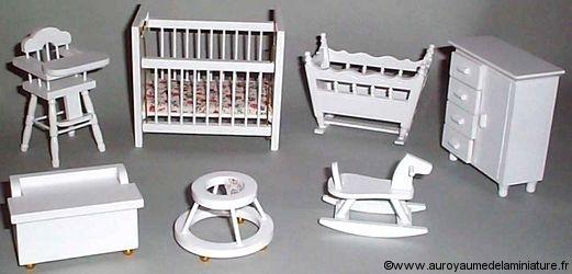 Set COFFRET 7 Pcs, CHAMBRE ENFANTS, Mobilier en BOIS peint, Coloris BLANC