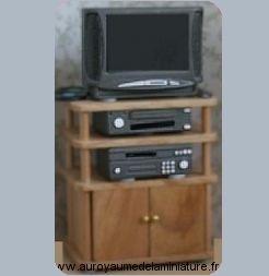 SALON - Set TV  + VIDEO + HI-FI + TELECOMMANDE + Meuble en BOIS, Coloris PIN - BS25