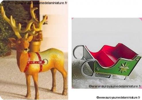 NOEL - RENNE miniature + TRAINEAU miniature