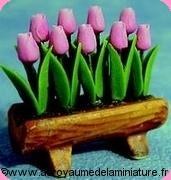 JARDIN miniature  -  TULIPES roses,TRONC en Céramique