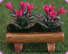 JARDIN miniature -  CYCLAMENS miniatures,  TRONC en Céramique