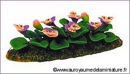 PARTERRE de FLEURS miniatures, PENSEES roses / mauves