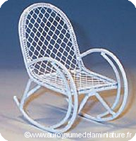 JARDIN - ROCKING-CHAIR miniature en Métal BLANC