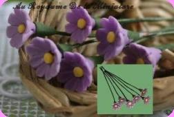 FLEURS COUPEES -  MARGUERITE  miniature, Coloris MAUVE - VENDUE à l' UNITé