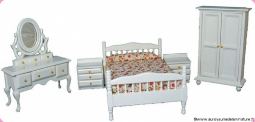 MOBILIER miniature - CHAMBRE PARENTS, 5 Pcs en BOIS, Coloris BLANC