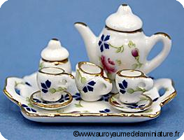 Set 8 Pcs, SERVICE à CAFE / THE miniature DUO 4 FLEURS - D1763
