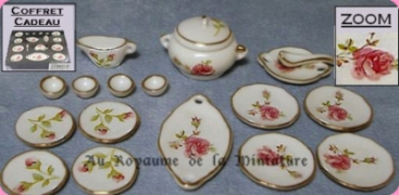 Set 17 Pcs, SERVICE DE TABLE miniature FLEURI ROSE