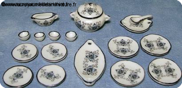 Set 17 Pcs, SERVICE DE TABLE miniature LOTUS