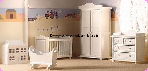 MOBILIER miniature - Set COFFRET 5 Pcs, CHAMBRE BB en BOIS, Coloris BLANC