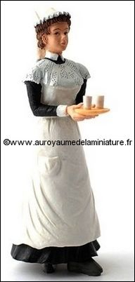 Personnage miniature en RESINE,  SERVANTE miniature, avec Plateau