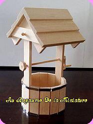 JARDIN - PUITS miniature en Bois  brut