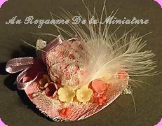 CHAPEAU miniature ROSE, Fleurs & Plumes & Dentelle