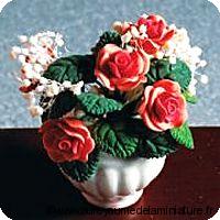 BOUQUET de ROSES, Coloris PECHE en POT
