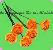 FLEURS COUPEES - ROSE miniature, Coloris ORANGE - VENDUE à l' UNITé