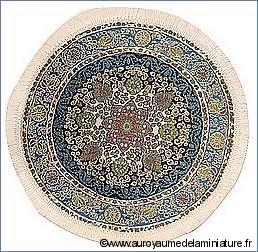 TAPIS miniature, Diam.19cm- Motifs BLEUS