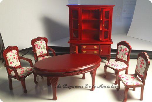 MOBILIER miniature 1/12 - SALLE A MANGER / SEJOUR > Set 6 pcs,  Coloris ACAJOU - Motifs CHAISES> Fleuri ROSE