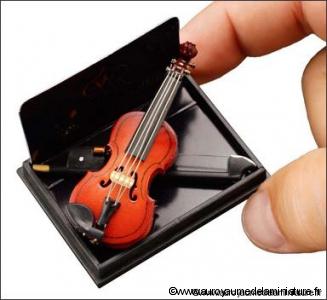 MUSIQUE LUXE - VIOLON miniature, livré avec Support
