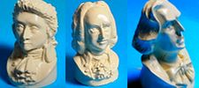 BUSTES miniatures MOZART, JS BACH, CHOPIN -