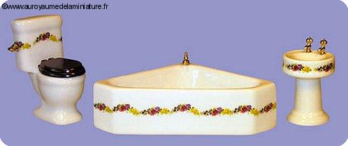 SDB - Set 3 pcs, SALLE DE BAIN miniature, Motifs GUIRLANDE FLEURI