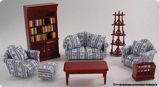 Set 8 pcs, MOBILIER miniature pour  SALON miniature, En BOIS, Coloris ACAJOU