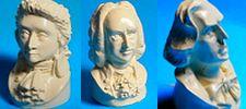 BUSTES miniatures MOZART, JS BACH, CHOPIN