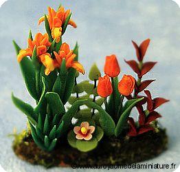 Grand  PARTERRE de FLEURS miniatures