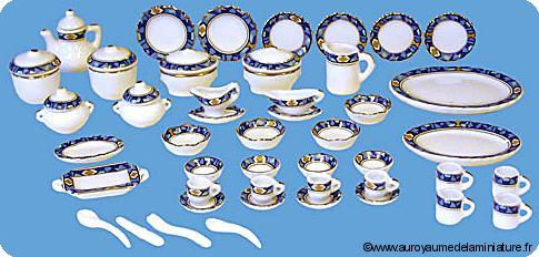 VAISSELLE miniature - Set 46 pcs, SERVICE DE TABLE / CAFE / THE miniature
