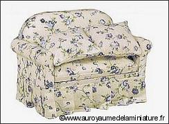 SALON miniature 1/12 > FAUTEUIL miniature, Tissu FLEURI