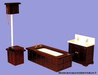 SDB - Set 3 pcs, SALLE DE BAIN miniature,  Style VICTORIEN
